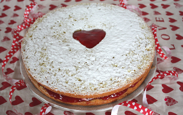 taart, hartjes, recept, rood, wit,