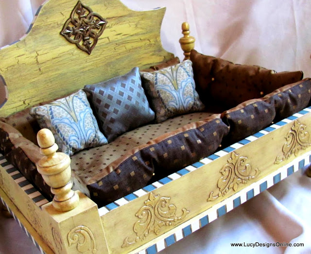 antiqued yellow dog bed sophisticated with french look medallions