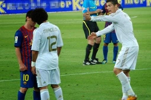 smešna slika: fudbaleri Marcelo i Mesi