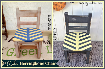 herringbone chair grey yellow