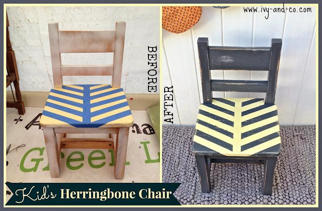 kids herringbone chair blue yellow