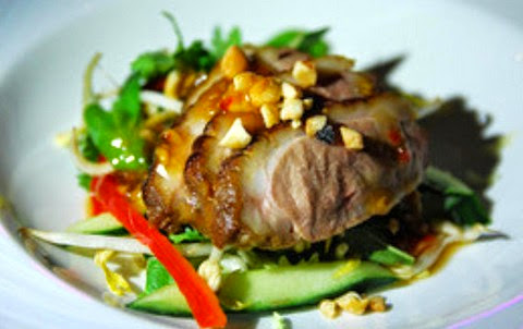 Exotic barbecued duck breast salad