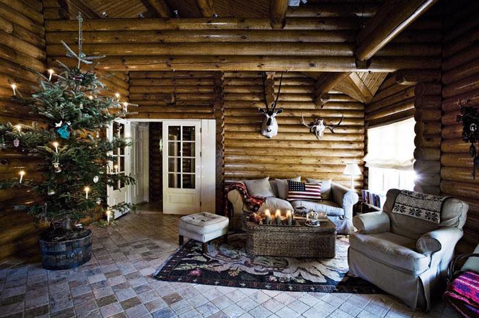 Interior] caba̱a r̼stica vestida para navidad Рvirlova style