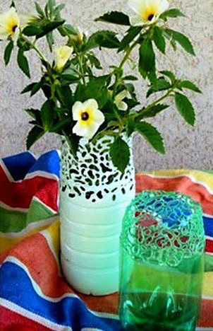 lamp stands and flower vases with waste water bottles