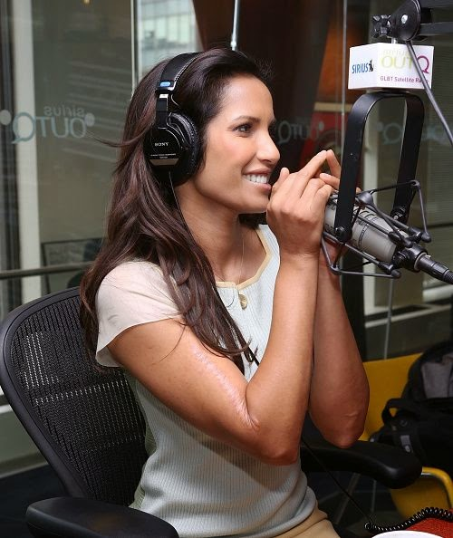 And how perfect is that rosy shade as Padma Lakshmi looked lovely in a pink Mini Dress during her host job at the Sirius XM studios in New York on Tuesday, October 7, 2014.