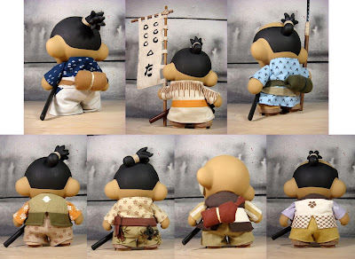 The Huck Gee Project The Seven Samurai Custom Munny Vinyl Figures by Huck Gee - Kyuzo, Kikuchiyo, Shichiroji, Gorobei, Heihachi, Kanbei &amp; Katsushiro