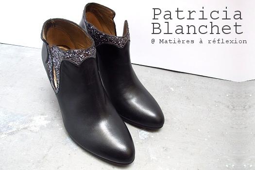 Boots Patricia Blanchet paillettes Kronenberg chaussures cuir noir