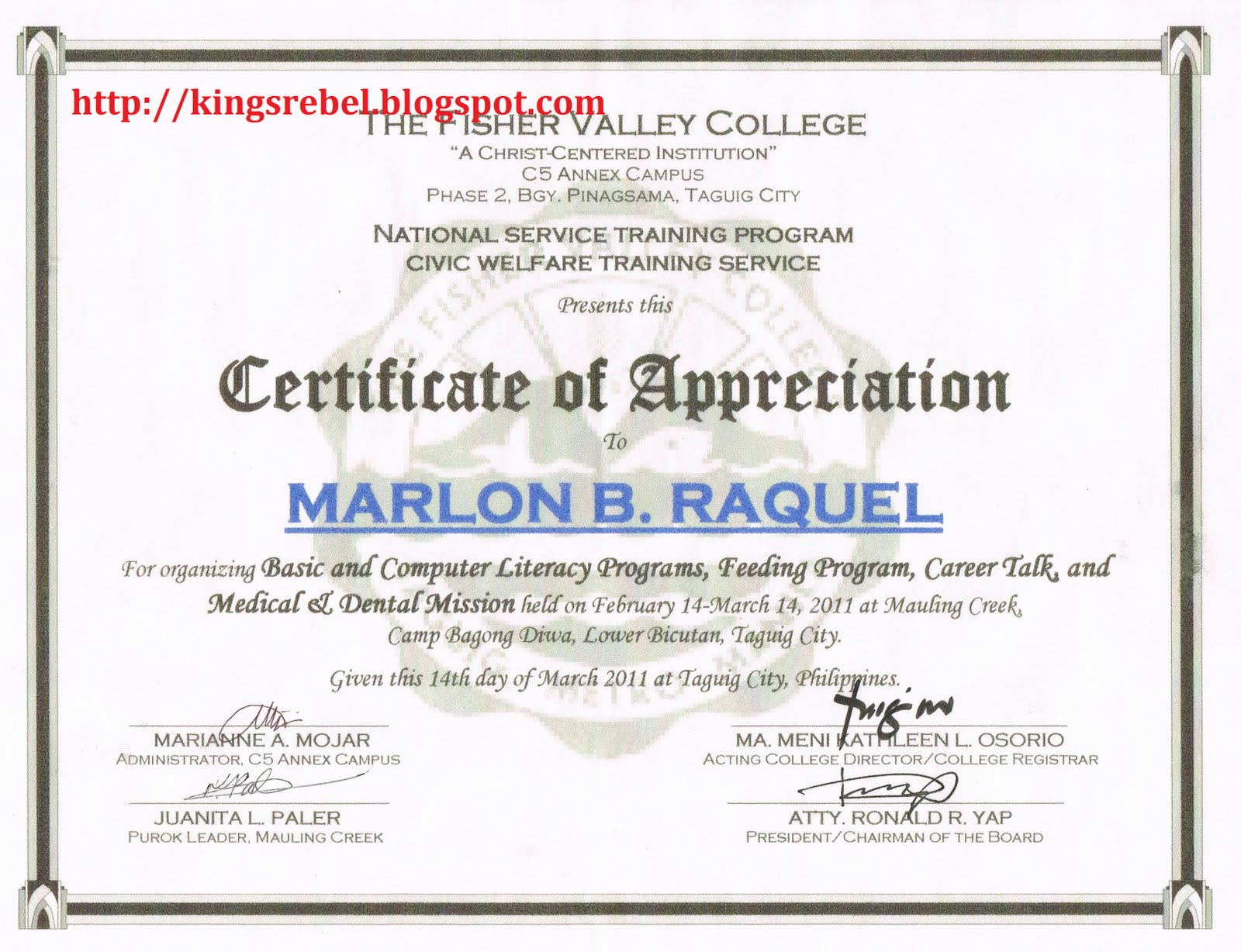 Examples of Certificate of Appreciation http://kingsrebel.blogspot.com/2011/02/example-of-certificate-of-appreciation_23.html
