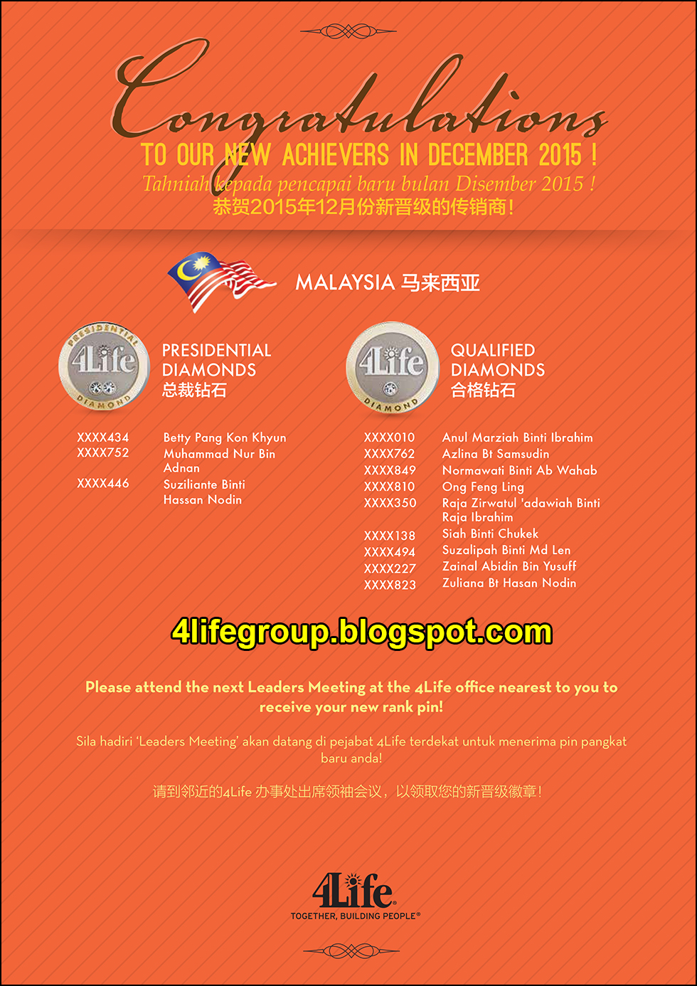 foto Pencapai Pangkat Baru Disember 2015 4Life Malaysia