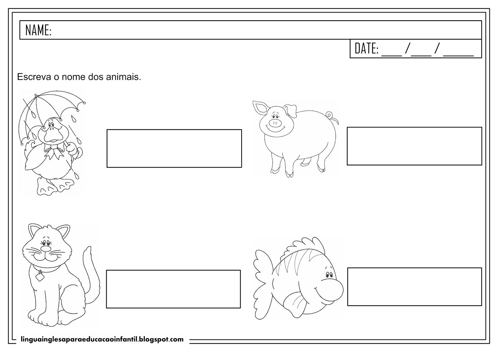 Atividade com animais em inglês para educação infantil
