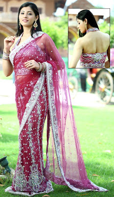 pink colour saree blouse