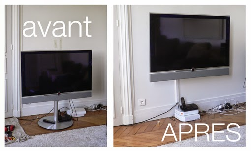 Pierre paris installer t l vision loewe - Comment cacher les fils de la tv accrochee au mur ...