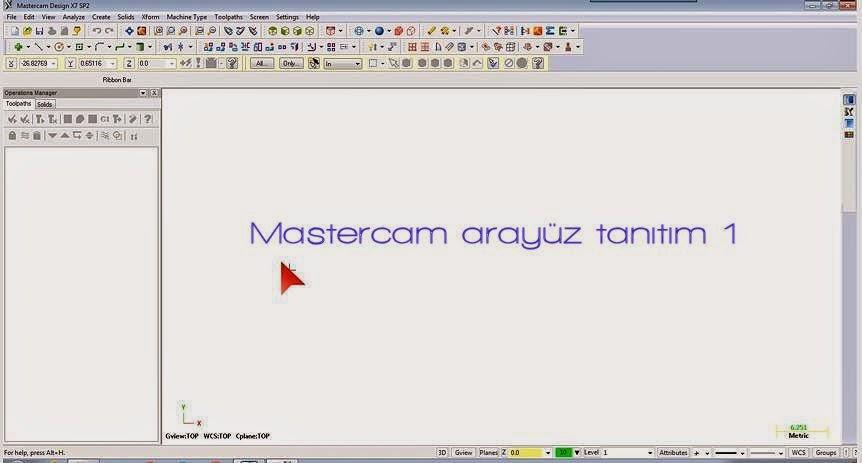 Mastercam arayüz tanıtım 1