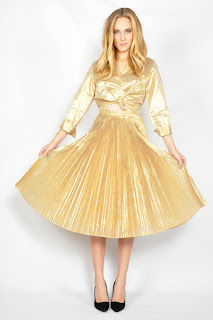 Vintage 1980's shiny gold lame metallic crop top and ful pleated skirt set.