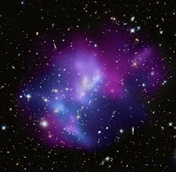 4 Galaxy Clusters collide along intersecting Cosmic Filament knots Birkeland currents - NASA photo
