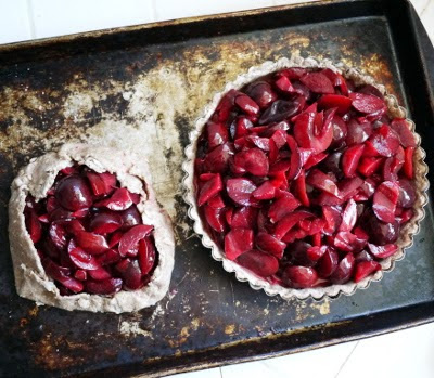 plum pie with coconut oil crust