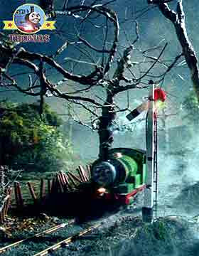 Thomas and friends Percy train engine the misty dark crows farm crossing signal light sparkled green