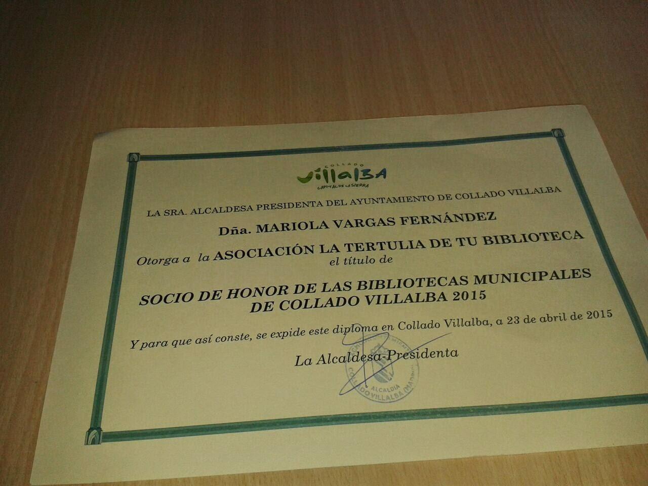 SOCIO DE HONOR 2015