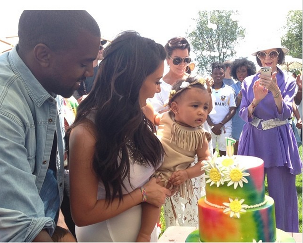 Kim K shares first photos with Kanye & North West at her Ist birthday party1