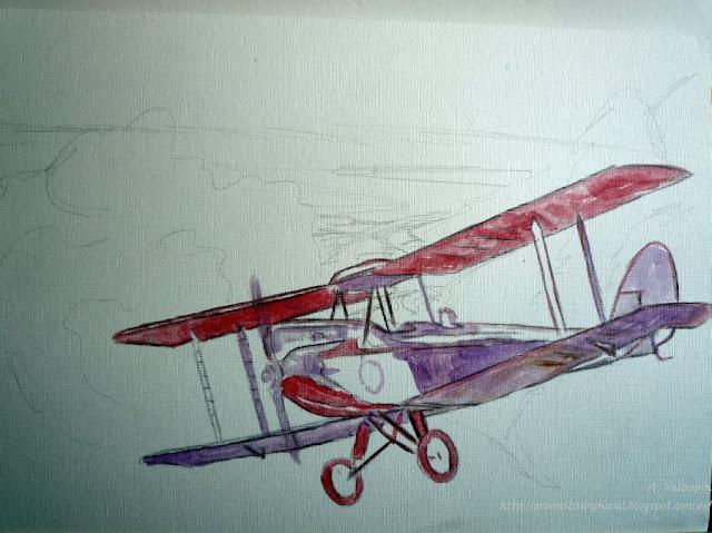 Óleo de un biplano De Havilland  - primera sesión