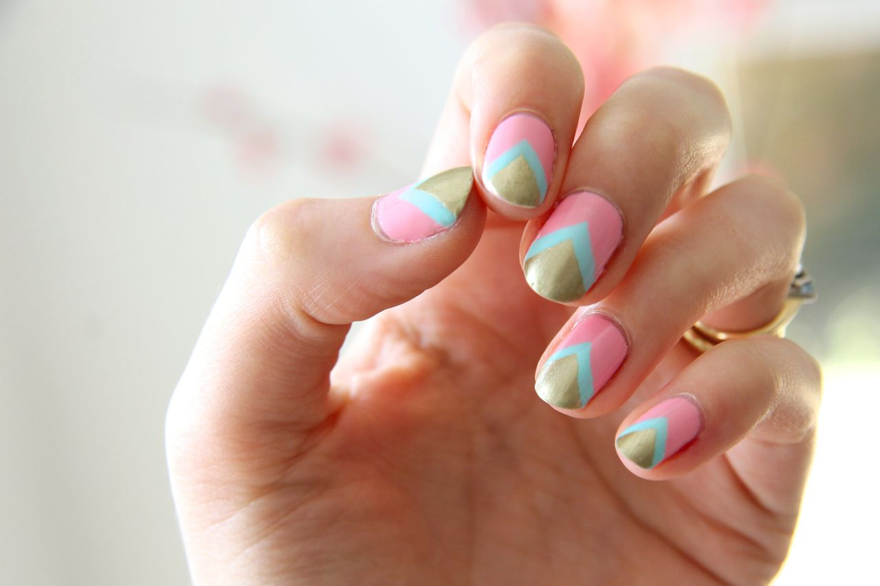 Nail Art - Gold, Mint and Pink