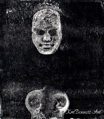 Out of Darkness gelatin monotype print KmBennettArt