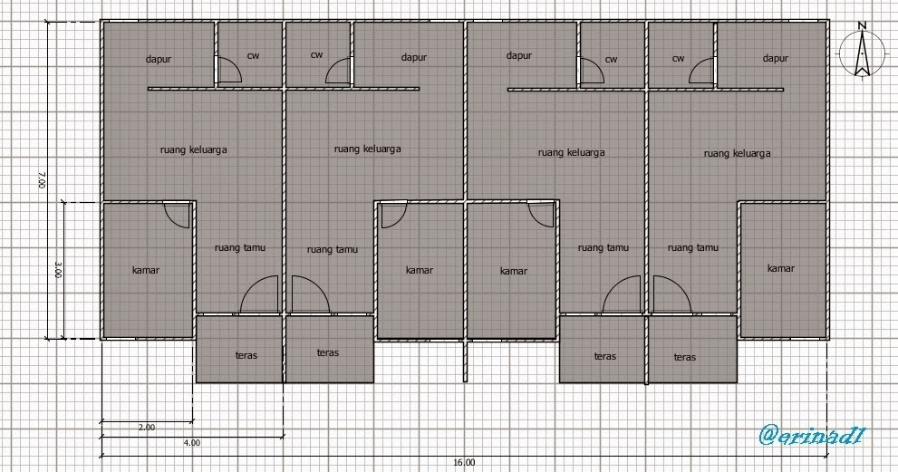 Gambar Denah Rumah Kontrakan Sederhana