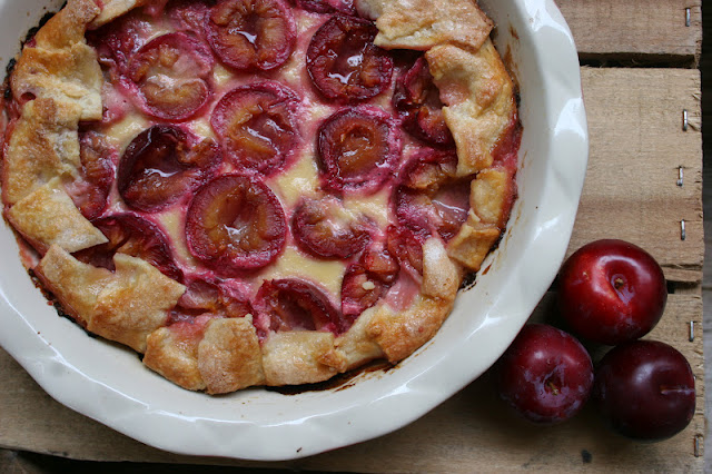 Plum & Orange Flower Custard Pie