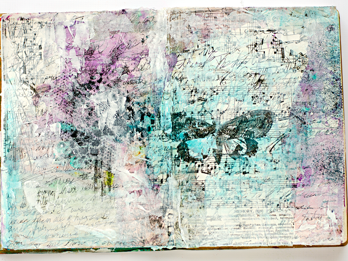 a step by step walk through process for a mixed media art worship art journaling page using the Documented Life Project 2015 prompts from Week 4 | Truth Scrap - Creative Friends Together With Him and For Him