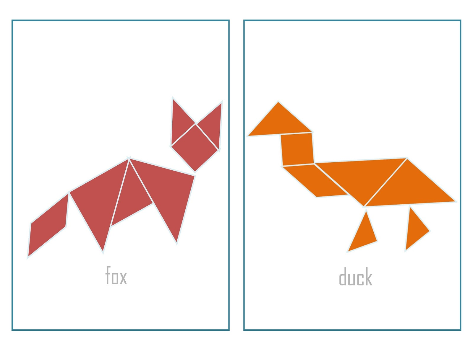 Free Tangram Animals Coloring Pages