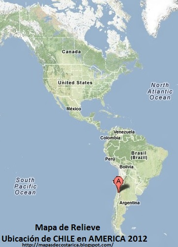 Mapa de Relieve. Ubicación de CHILE en AMERICA