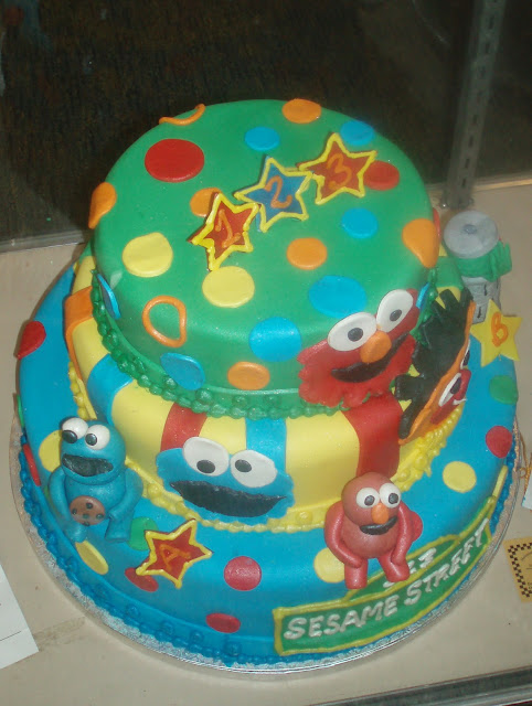 Sesame Street cake with Elmo and Cookie Monster