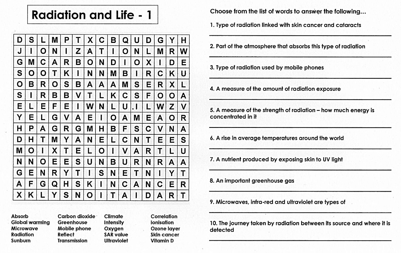 100 Free Science Worksheets Radiation Life A Quiz Wordsearch – Free Science Worksheets