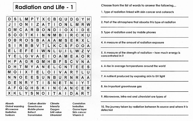 100+ Free Science Worksheets: Radiation & Life - A Quiz Wordsearch ...