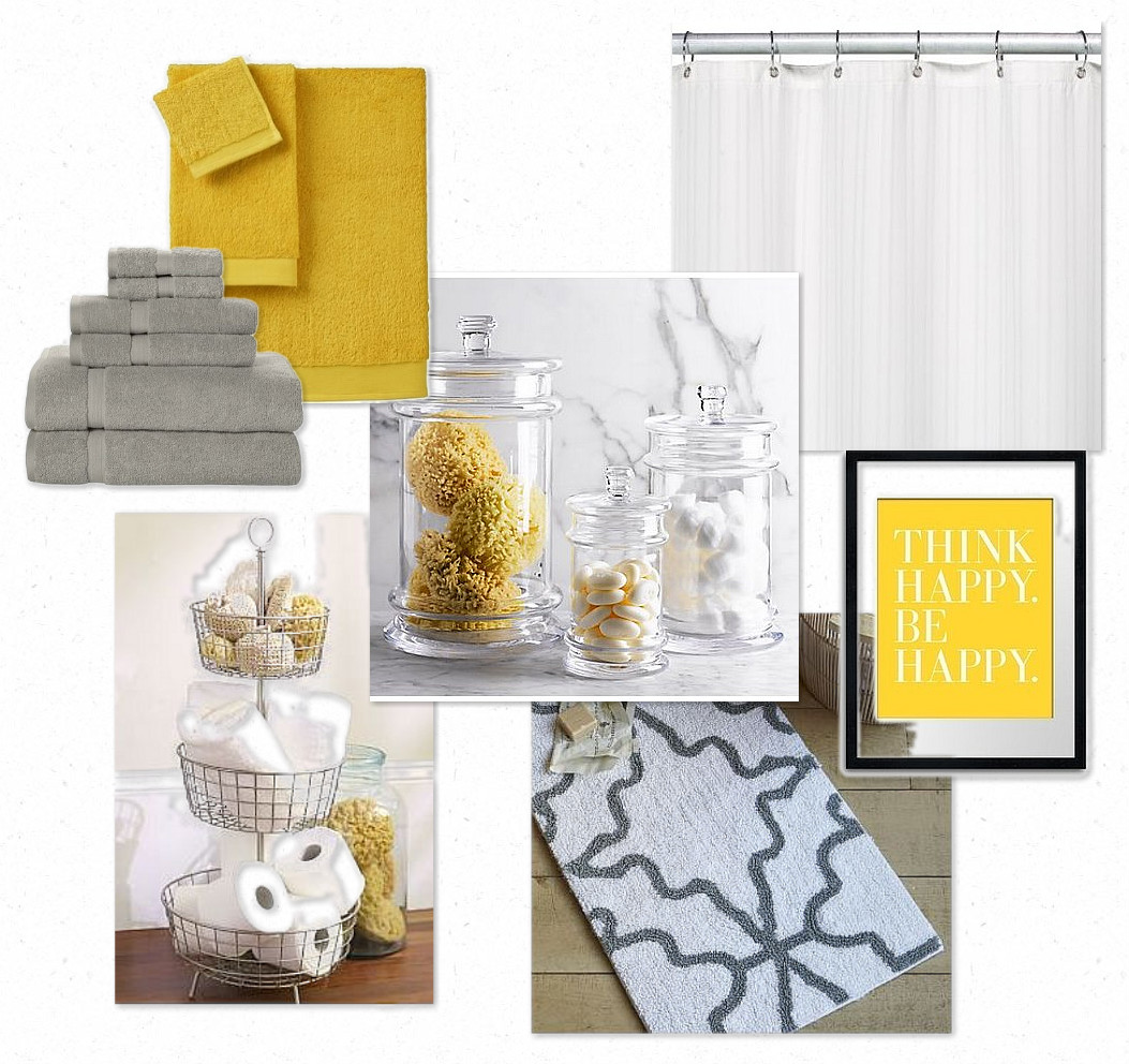 Design gal her handyman gray and yellow bathroom for Bathroom decor yellow and gray