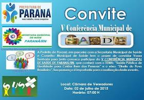 Paraná/RN - Convite V CONFERÊNCIA DE SAÚDE