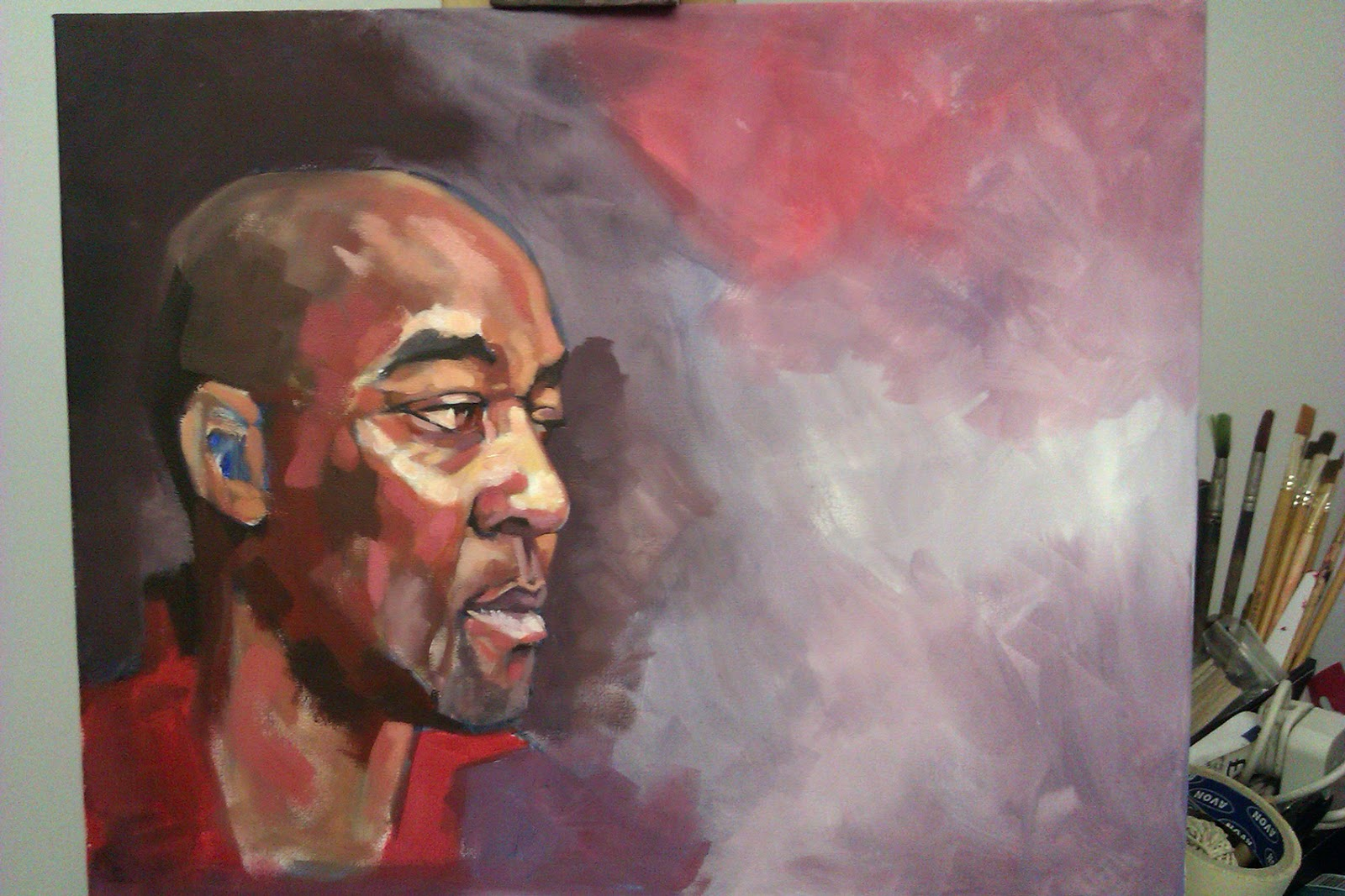 Work in Progress - No.18. Painting of Olympic Gold Medalist Darren Campbell MBE, by Anthony Greentree