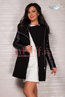 Palton dama negru inserti piele ecologica (MBG)