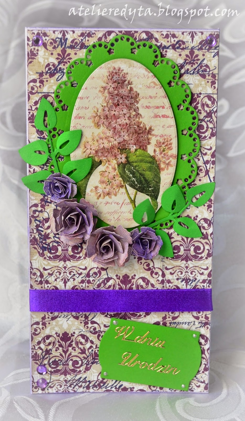 Fioletowo - zielona ręcznie robiona karta urodzinowa.