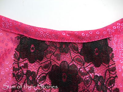 neat neck edge to lace refashion