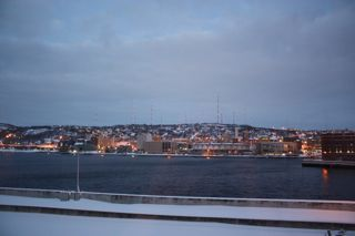 photo of Duluth, MN from the harbor