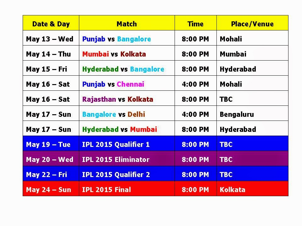 ipl time table