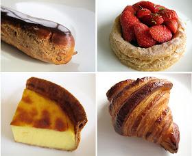Eclair au chocolat Jacques Genin, tarte aux fraises La Pâtisserie des Rêves, flan pâtissier Mori Yoshida, croissant Des Gâteaux et du Pain