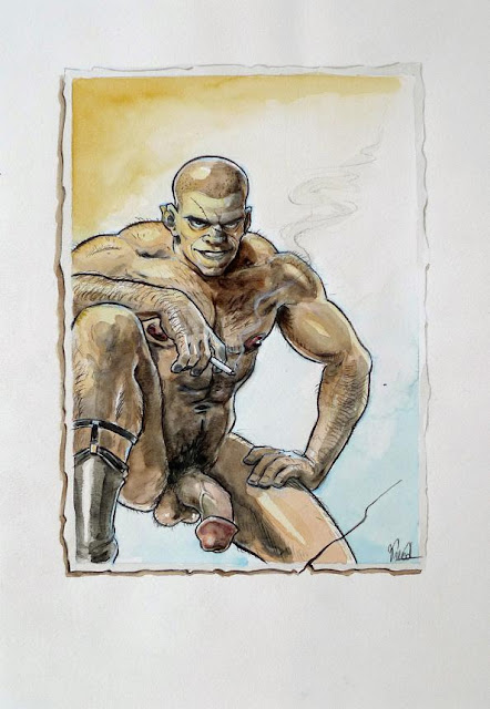 MALE DRAWING ART BLOG : BENOIT PREVOT DRAWING PENCILS AND WATERCOLOUR ON PAPER