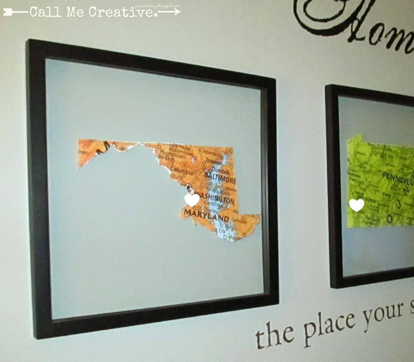 i used three floating wall picture frames from michael s because i wanted to frame three pictures maryland pennsylvania and new jersey