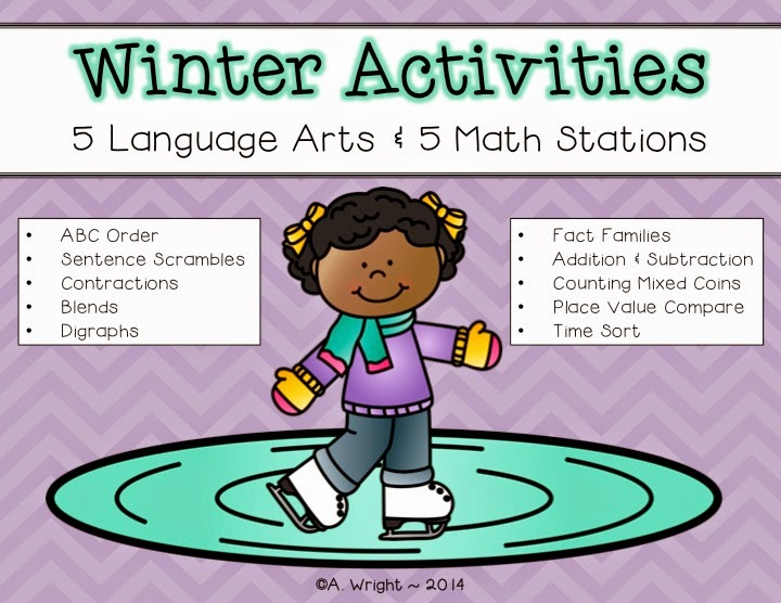 http://www.teacherspayteachers.com/Product/Winter-Activities-5-Language-Arts-and-5-Math-Stations-1613982
