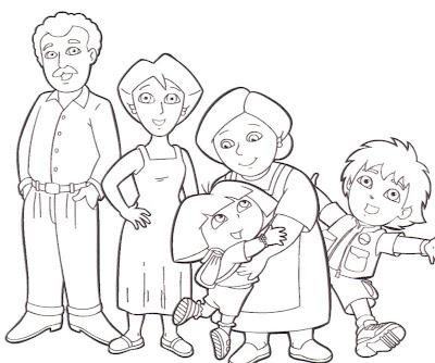 Dora Exploradora familia colorear