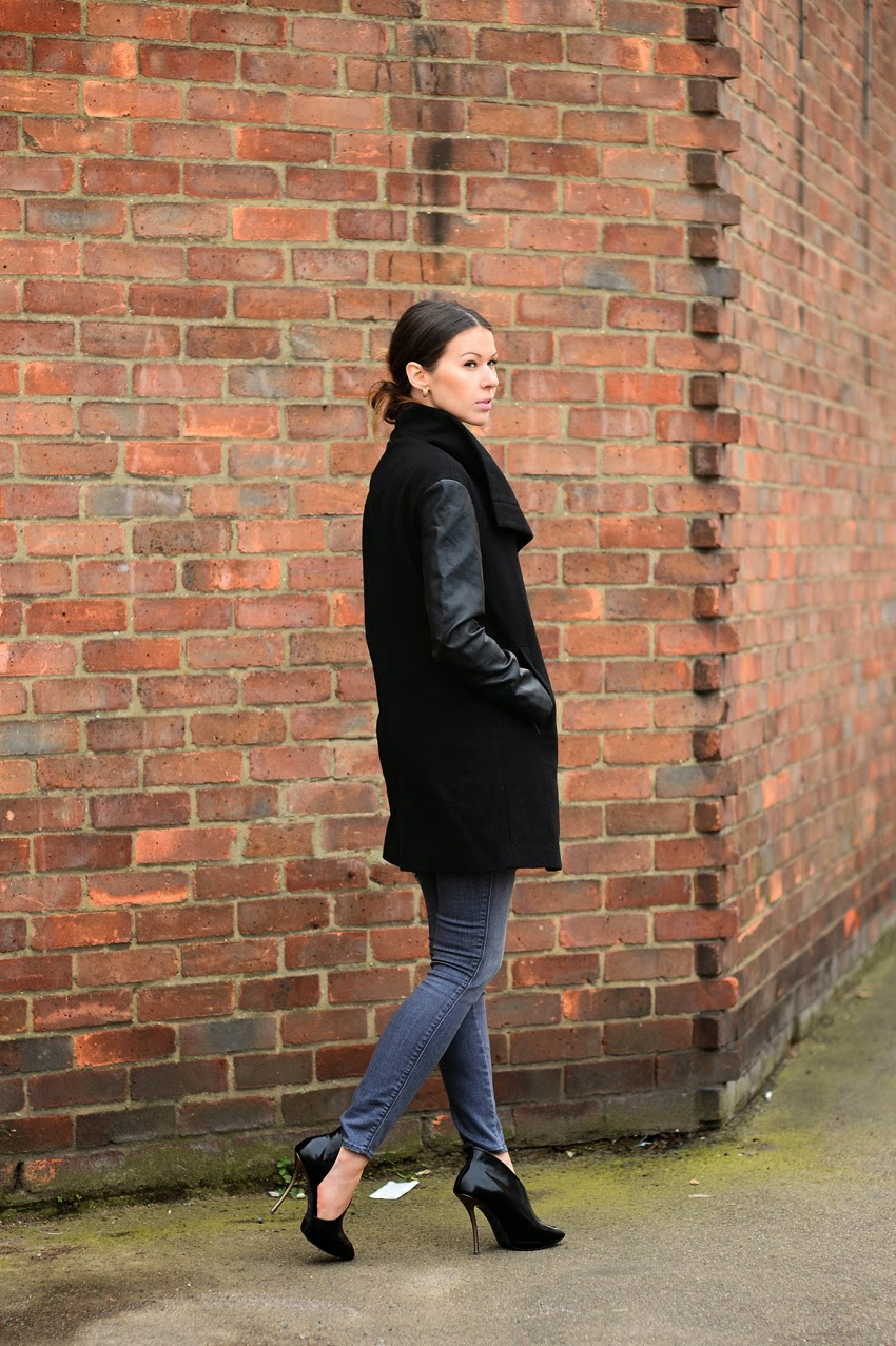 lanvin heels, grey jeans and black coat