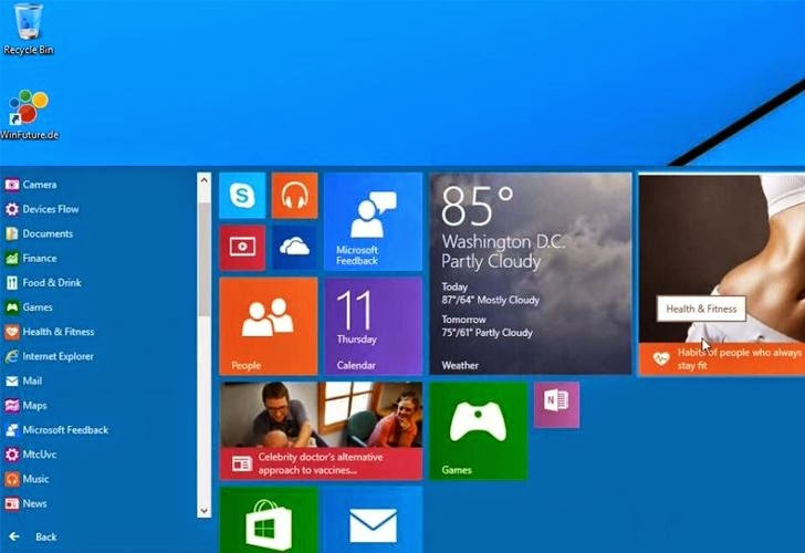 Windows 9 Start Menu Demo Video Leaked