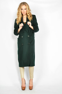 Vintage 1980's emerald green wool Christian Dior maxi peacoat.